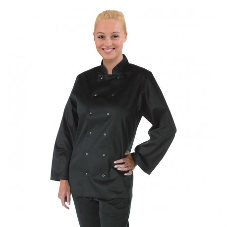 Whites Vegas Unisex Chef Jacket Long Sleeve Black - XL