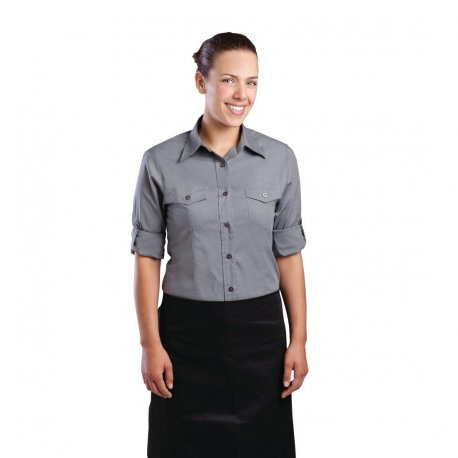 Chef Works Womens Pilot Shirt Grey M