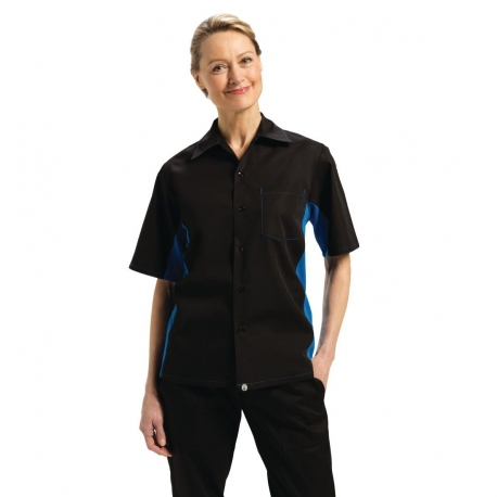 Chef Works Unisex Contrast Black and Blue Shirt XL