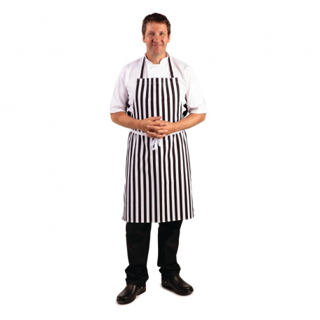 Whites Bib Apron Black And White Stripe