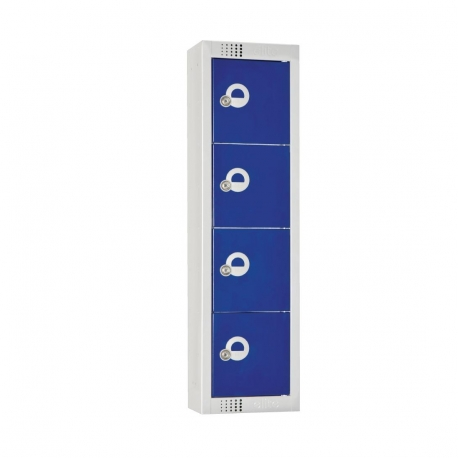 Elite Personal Effects Locker 4 Door Blue Camlock
