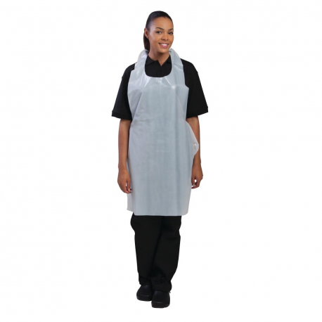 Disposable Polythene Bib Aprons White (Pack of 100)
