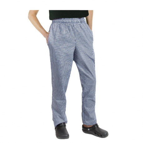 Chef Works Essential Baggy Pants Small Blue Check XL