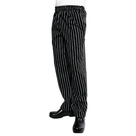 Chef Works Designer Baggy Pant Black and White Striped XS