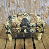 Dog Print Footstool with Drawer