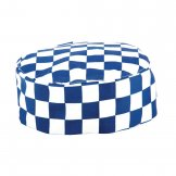 Whites Chefs Skull Cap Big Blue and White Check