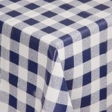 PVC Chequered Tablecloth Blue 54in