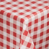 PVC Chequered Tablecloth Red 54 x90in