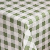 PVC Chequered Tablecloth Green 35in