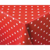 PVC Polka Dot Tablecloth Red 54 x 90in