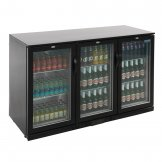 Polar Back Bar Cooler with Hinged Doors in Black 330Ltr
