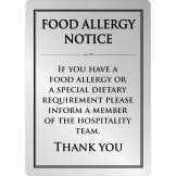 Brushed Steel Food allergy sign A5