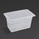 Vogue Polypropylene 1/4 Gastronorm Container with Lid 150mm (Pack of 4)
