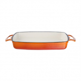 Vogue Orange Rectangular Cast Iron Dish 1.8Ltr