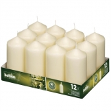 Ivory Pillar Tall Candles 130mm (Pack of 12)