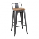 Bolero Bistro Backrest High Stools with Wooden Seat Pad Gun Metal (Pack of 4)