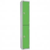 Elite Double Door Camlock Locker with Sloping Top Green