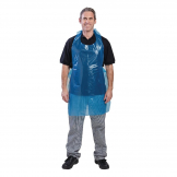 Disposable Polythene Bib Aprons Blue (Pack of 100)