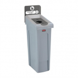 Rubbermaid Slim Jim Bottles and Cans Recycling Station Dark Grey 87Ltr