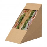 Colpac Compostable Kraft Rear-Loading Sandwich Wedges With PLA Window