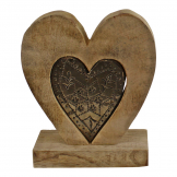 Small Wooden Heart Ornament with Silver Heart Insert