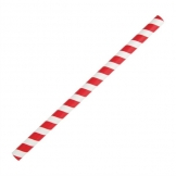 Fiesta Green Compostable Paper Smoothie Straws Red Stripes (Pack of 250)