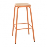 Bolero Cantina High Stools with Wooden Seat Pad Orange (Pack of 4)