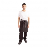 Chef Works Wide Half Bistro Apron with Grey Contrast Ties