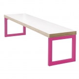 Bolero Dining Bench White with Pink Frame 3ft