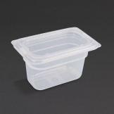 Vogue Polypropylene 1/9 Gastronorm Container with Lid 100mm (Pack of 4)