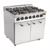 Buffalo 6 Burner Oven Range with Castors