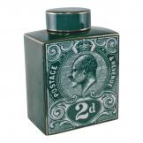 Postage Stamp Decorative Ginger Jar, Teal Green