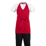 Whites V Neck Service Apron Red