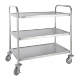 Vogue Stainless Steel 3 Tier Clearing Trolley Large