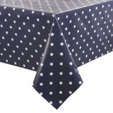 PVC Polka Dot Tablecloth Blue 54in