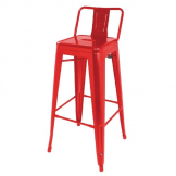 Bolero Bistro Steel High Stool With Backrest Red (Pack of 4)