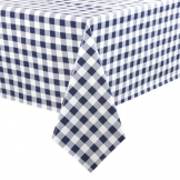 PVC Chequered Tablecloth Blue 54 x 70in