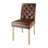 Bolero Chiswick Button Dining Chairs Tan Leather (Pack of 2)