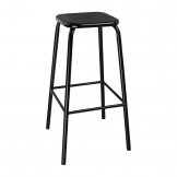 Bolero Black High Stool with Metal Seatpad (Pack of 4)