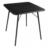 Bolero Slatted Square Steel Table Black 700mm (Single)