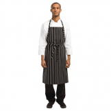 Chef Works Premium Woven Bib Apron Black and White Stripe