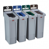 Rubbermaid Slim Jim Four Stream Recycling Station 87Ltr