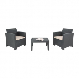 Bolero PP Grey Armchair and Table Wicker Set