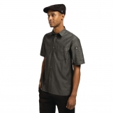 Chef Works Unisex Detroit Denim Short Sleeve Shirt Black L