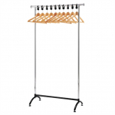 Bolero Chrome Coat Rack with 10 Wood Hangers