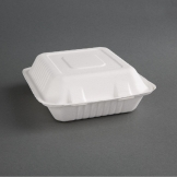 Fiesta Green Compostable Bagasse Hinged Food Containers 204mm (Pack of 200)