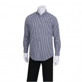 Chef Works Mens Dress Shirt Dark Navy Gingham S