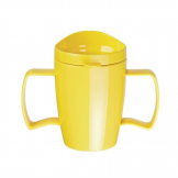 Kristallon Heritage Double-Handled Mugs with Lids Yellow 300ml (Pack of 4)