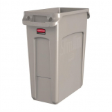 Rubbermaid Slim Jim Container With Venting Channels Beige 60Ltr