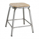 Bolero Galvanised Steel Low Stool with Wooden Seatpad (Pack of 4)